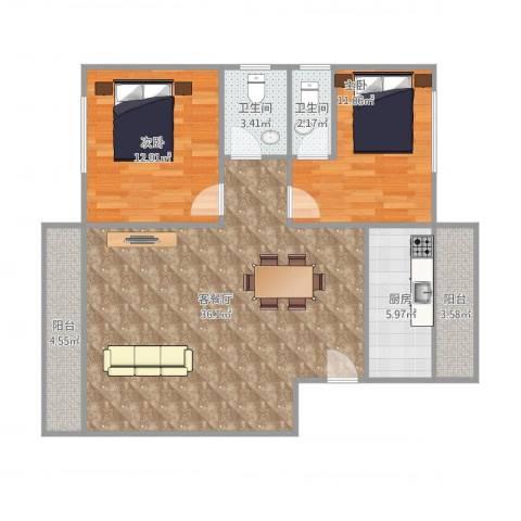 恒基花园一期2室1厅2卫1厨108.00㎡户型图