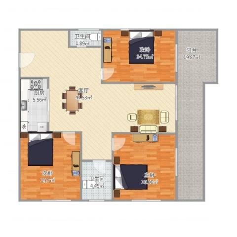 恒基花园四期1栋03户型3室1厅2卫1厨128.00㎡户型图
