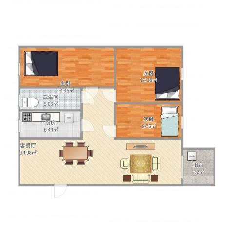 东盛花园1号I座6043室1厅1卫1厨118.00㎡户型图
