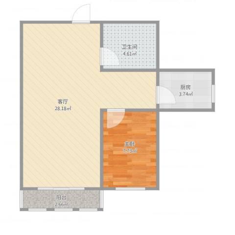 天穆东苑5-1-25071室1厅1卫1厨63.00㎡户型图