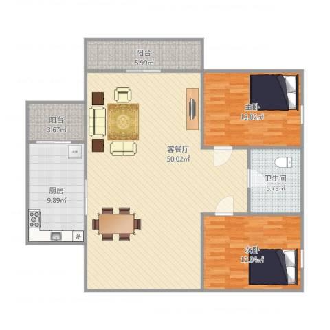 东盛花园1号J座2052室1厅1卫1厨135.00㎡户型图