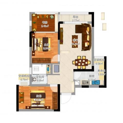 首创光和城3室1厅1卫1厨90.00㎡户型图
