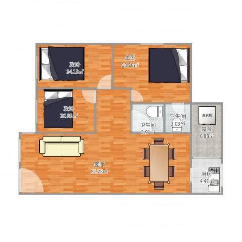 恒基花园四期3室1厅2卫1厨120.00㎡户型图