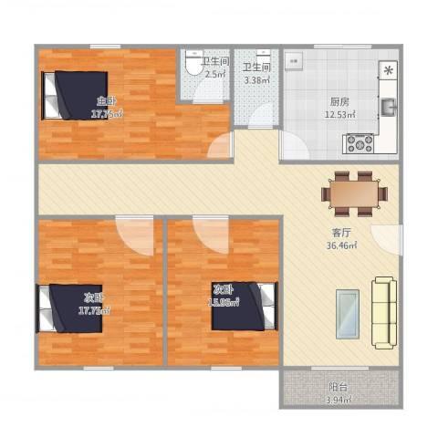 恒基花园四期1栋01户型3室1厅2卫1厨118.00㎡户型图