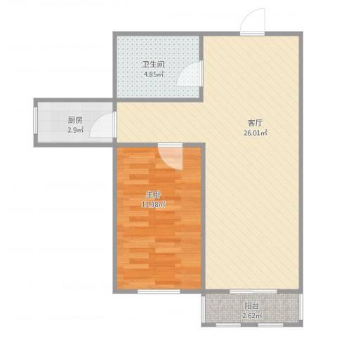天穆东苑5-1-28021室1厅1卫1厨65.00㎡户型图