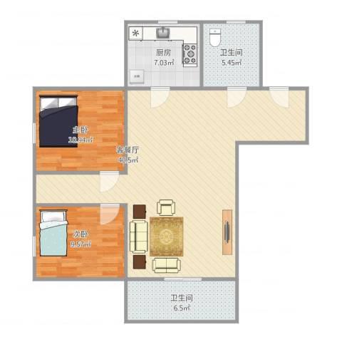 东盛花园1号C座7032室1厅2卫1厨107.00㎡户型图
