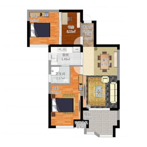 奥克斯盛世华庭3室1厅2卫1厨100.00㎡户型图