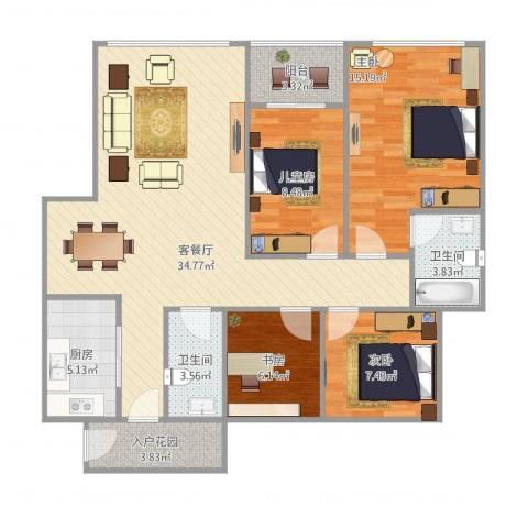 首航欣程C14室1厅2卫1厨124.00㎡户型图