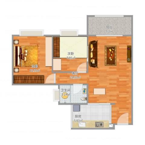 中澳世纪城2室1厅1卫1厨80.00㎡户型图