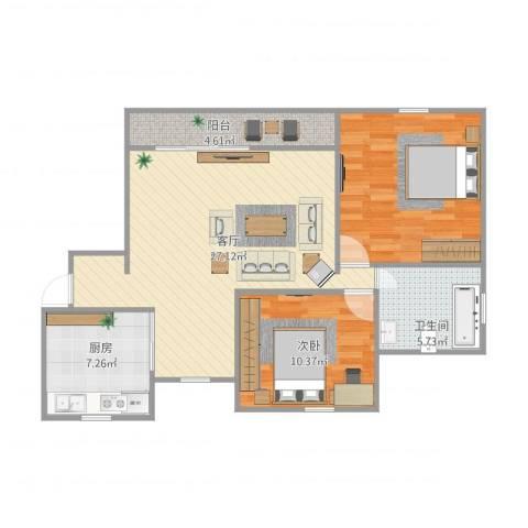 浦江宝邸2室1厅1卫1厨94.00㎡户型图