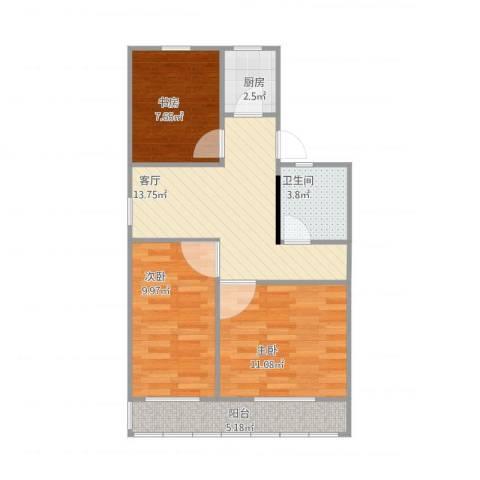 里仁东街3室1厅1卫1厨74.00㎡户型图