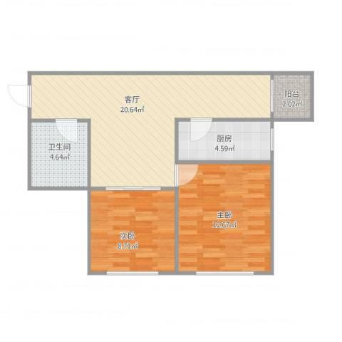 天穆东苑1-1-13052室1厅1卫1厨72.00㎡户型图