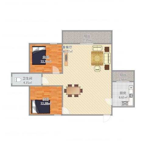 东盛花园1号G座3052室1厅1卫1厨121.00㎡户型图