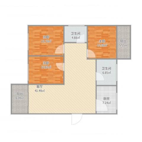 云景花园3室1厅2卫1厨148.00㎡户型图