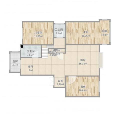 朝晖北里3室1厅3卫1厨115.00㎡户型图