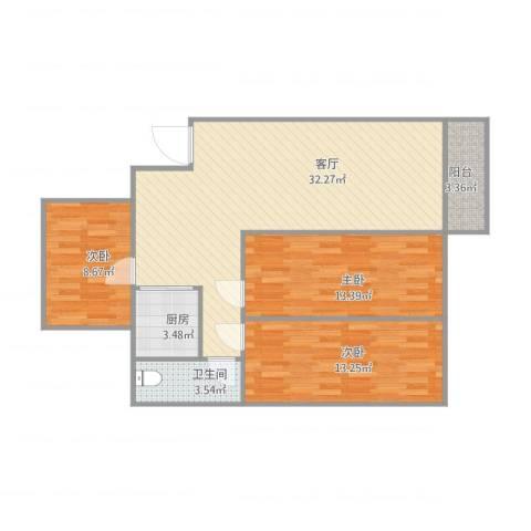 锦绣柠溪3室1厅1卫1厨105.00㎡户型图