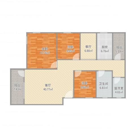 南海桂花园3室3厅1卫1厨124.00㎡户型图