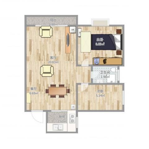 新都华城2室1厅1卫1厨56.00㎡户型图