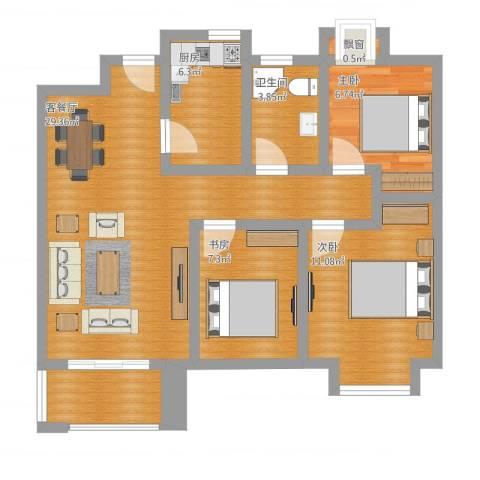 旭辉苹果乐园3室1厅2卫1厨95.00㎡户型图