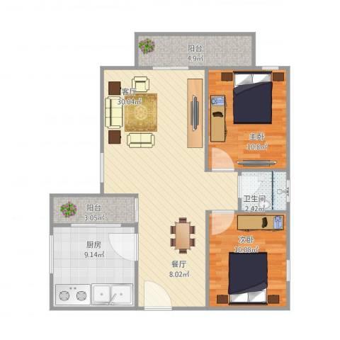 东盛花园1号H座7052室1厅1卫1厨95.00㎡户型图