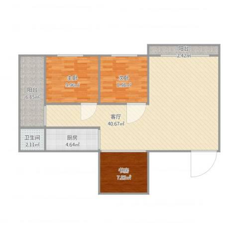 海昌轩9G3室1厅1卫1厨112.00㎡户型图