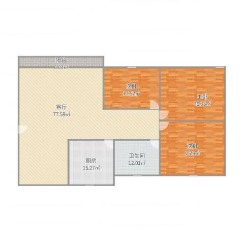 福宁花园3室1厅1卫1厨238.00㎡户型图
