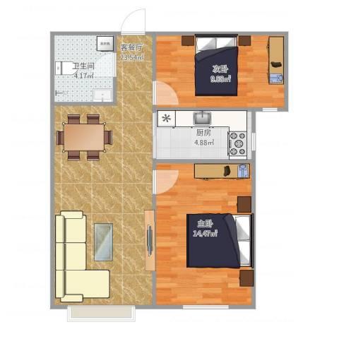泰禾世家2室1厅1卫1厨77.00㎡户型图