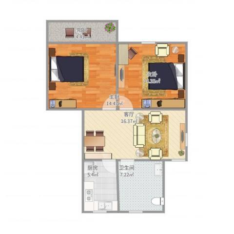 银桥花苑2室1厅1卫1厨84.00㎡户型图
