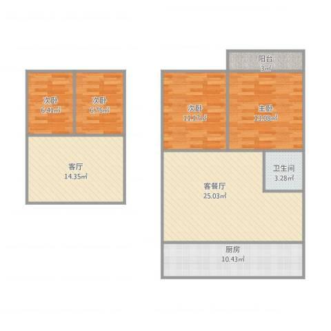 荷花园4室2厅1卫1厨126.00㎡户型图