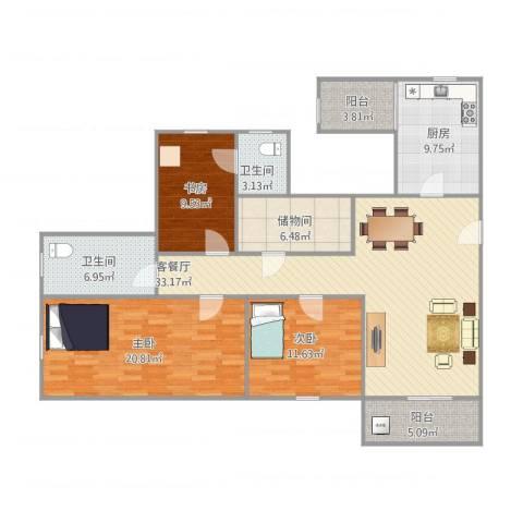 恒基花园二期15-5023室1厅2卫1厨149.00㎡户型图