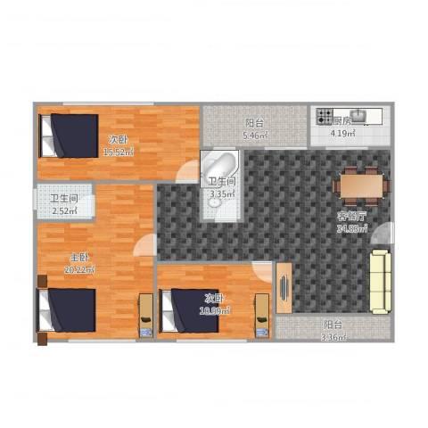 恒基花园二期19栋02户型3室1厅2卫1厨135.00㎡户型图