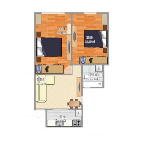 沁春园一村2室1厅1卫1厨65.00㎡户型图