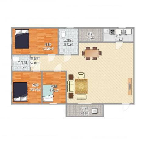 恒基花园二期20-4023室1厅2卫1厨143.00㎡户型图