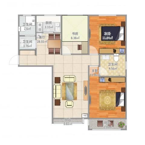 百花家园6#119平米3室1厅3卫1厨106.00㎡户型图