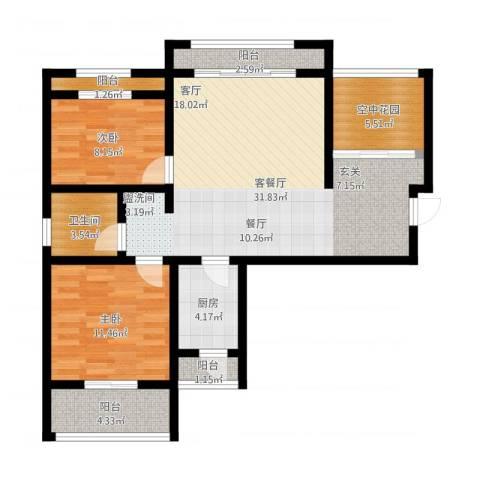 南海国际2室1厅1卫1厨110.00㎡户型图