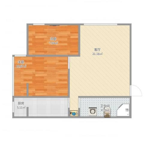 临泓路6号院一居改两居2室1厅1卫1厨67.00㎡户型图