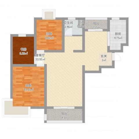 第五元素3室1厅1卫1厨110.00㎡户型图