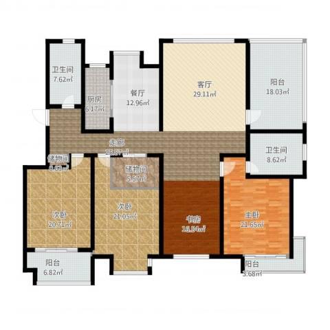 悦海世家二期3室1厅2卫1厨287.00㎡户型图