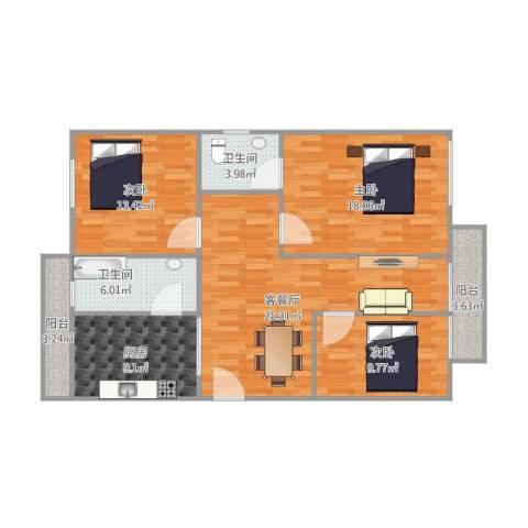 恒基花园二期22栋02户型3室1厅2卫1厨125.00㎡户型图
