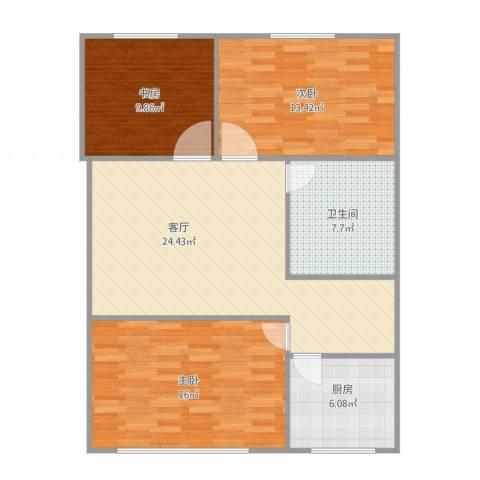 永康苑3室1厅1卫1厨104.00㎡户型图