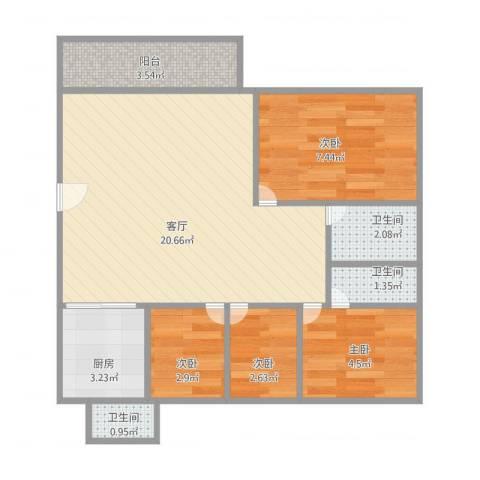 聚景园1754室1厅3卫1厨68.00㎡户型图