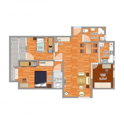 嘉州美都四期欢畅园3室1厅2卫1厨137.00㎡户型图