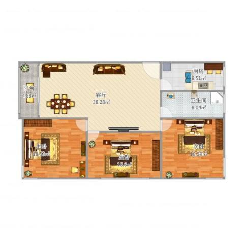 大宅风范城3室1厅1卫1厨150.00㎡户型图