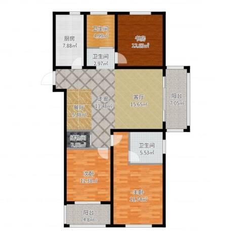 同科・汇丰国际3室1厅2卫1厨158.00㎡户型图