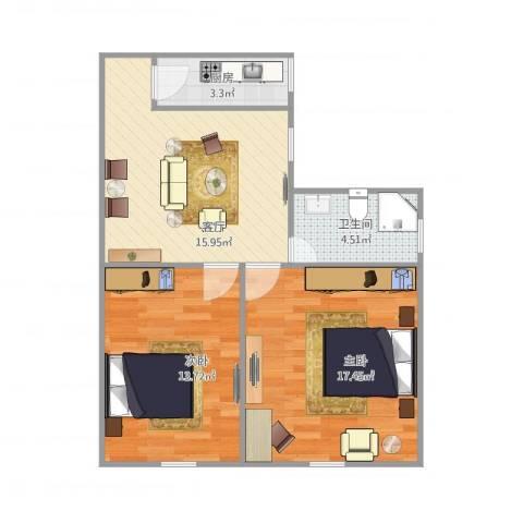 沪东新村2室1厅1卫1厨74.00㎡户型图