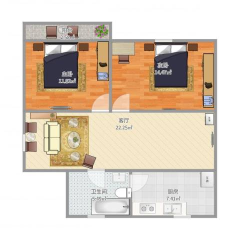 东陆新村五街坊2室1厅1卫1厨86.00㎡户型图