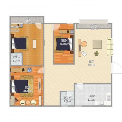 兴业新村2室1厅2卫1厨156.00㎡户型图
