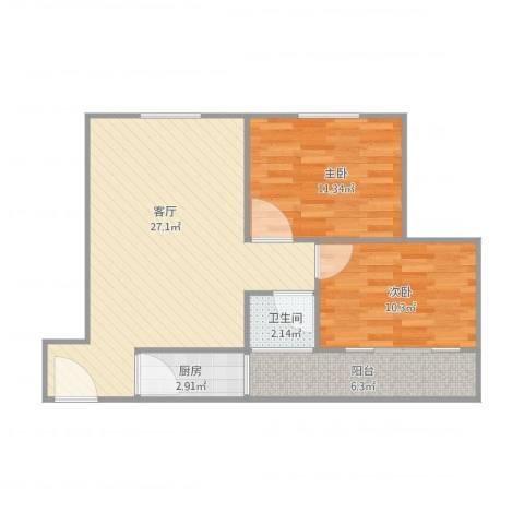 东方广场明珠城D座2室1厅1卫1厨81.00㎡户型图