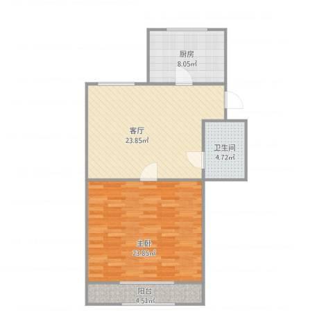 芙蓉花园1室1厅1卫1厨87.00㎡户型图