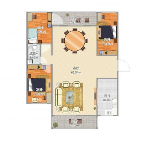 瑞丽花园3室1厅1卫1厨172.00㎡户型图